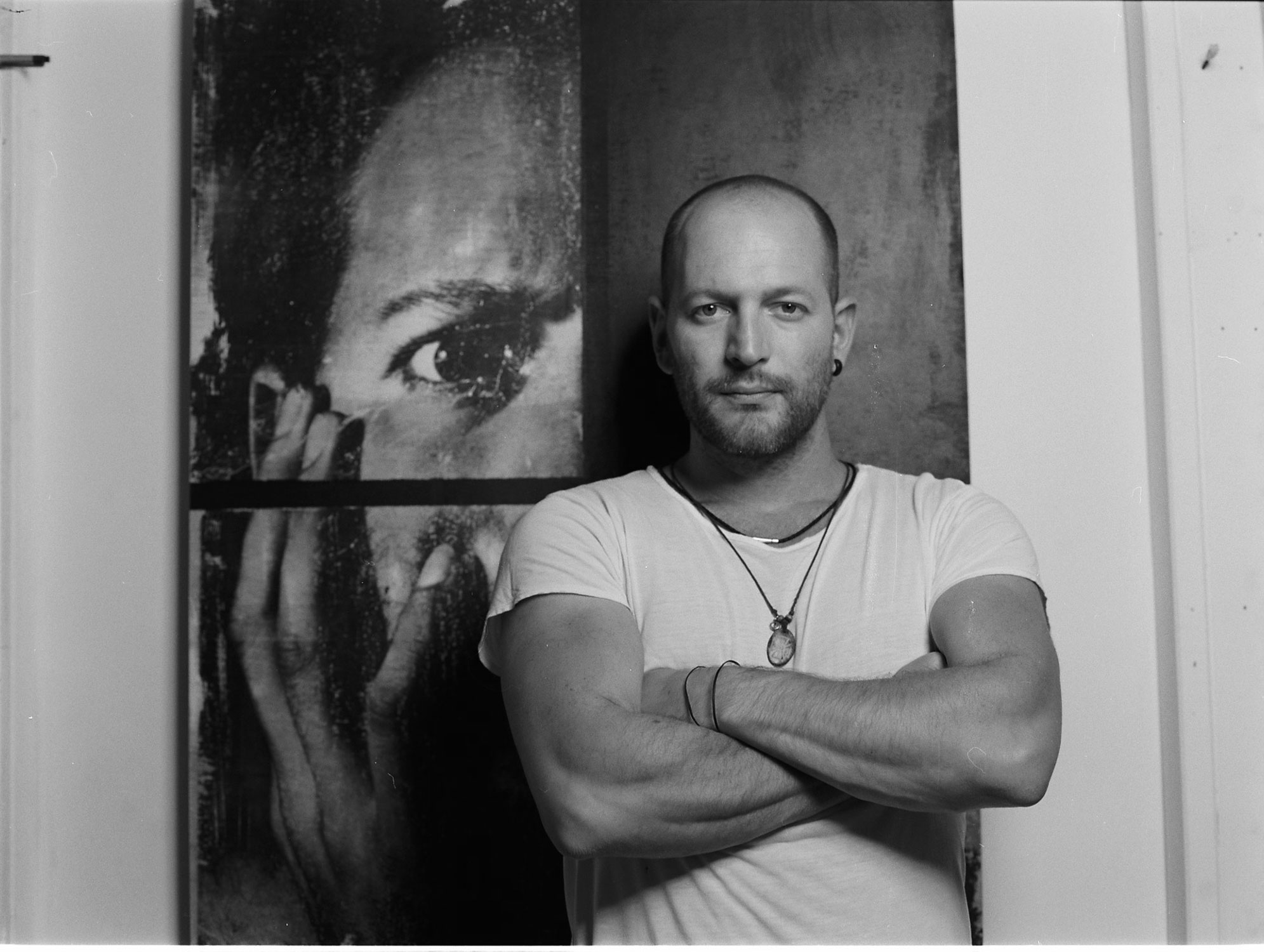 Mauro standing in fron of his self portrait. He taught me ALL I KNOW about medium format film. Thank you pal!