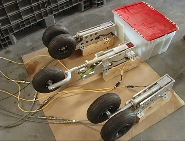 Custom landing gear by Aero Telemetry was designed and built for the Aviator XF-11