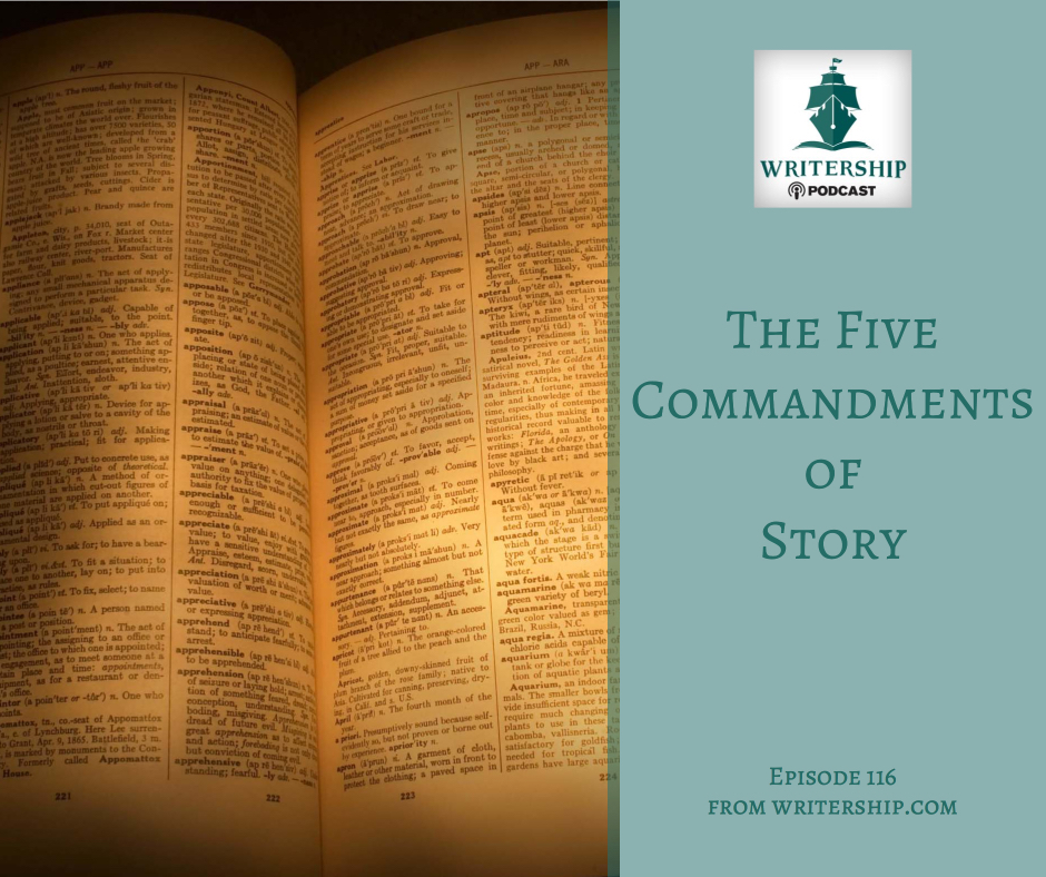 The Five Commandments of Story by Leslie Watts with Writership.com.