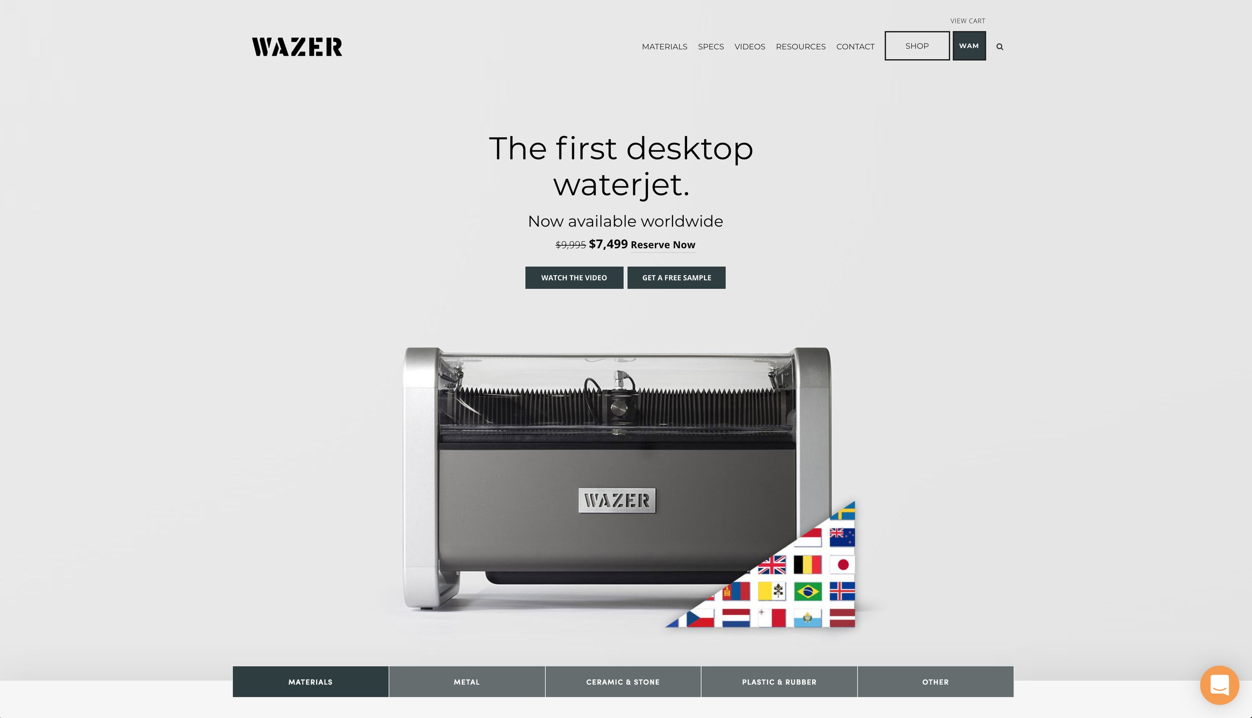 WAZER | The first desktop waterjet