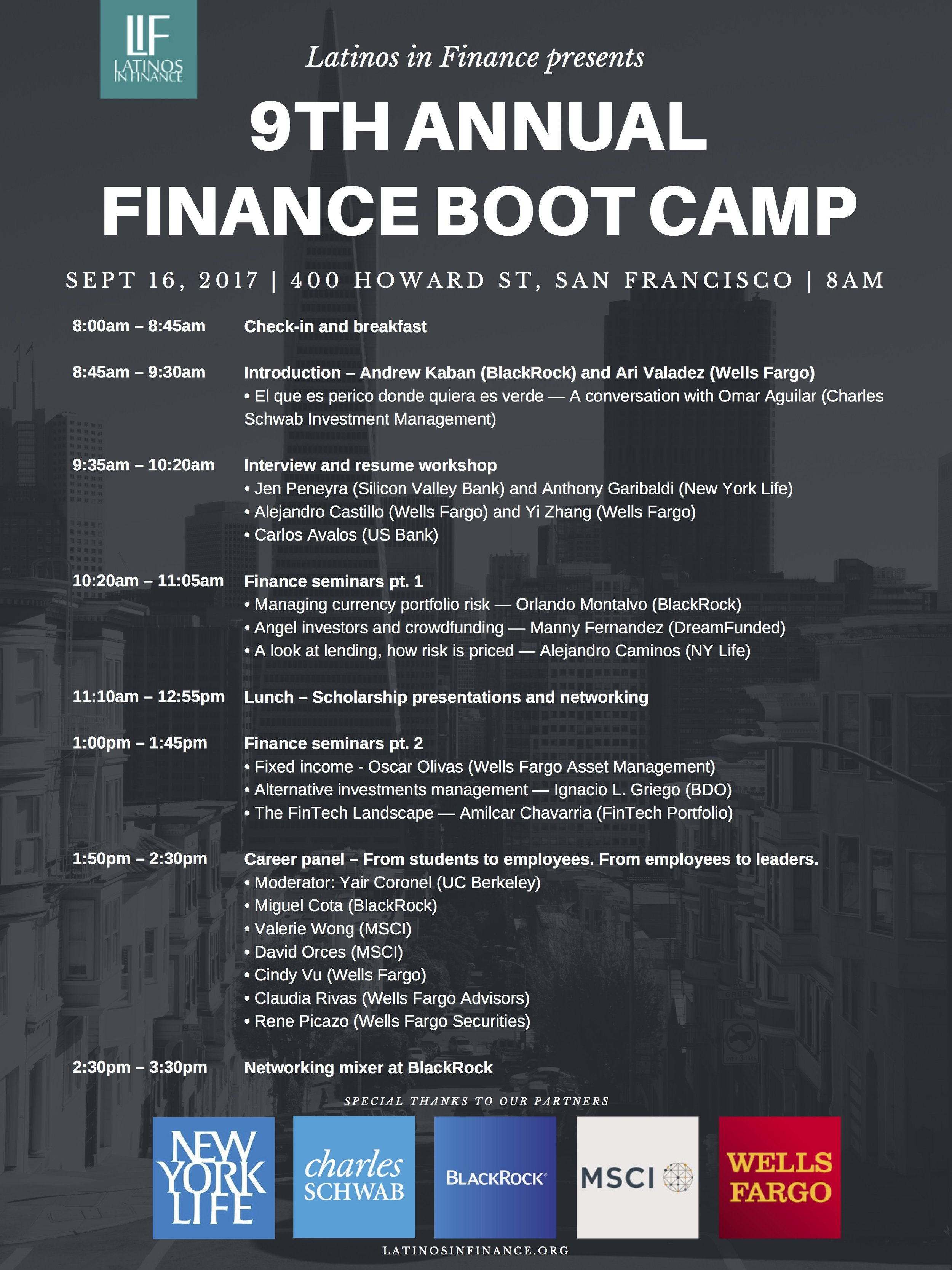 LIF Boot Camp Agenda