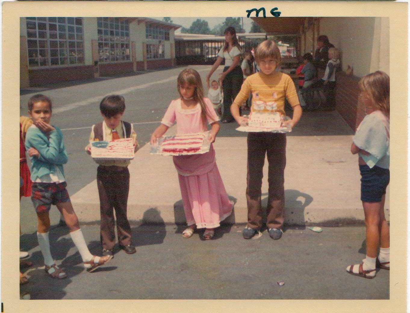Del Norte Elementary School, Ontario, CA.    (Greg on the right with the double deck cake w/flags)