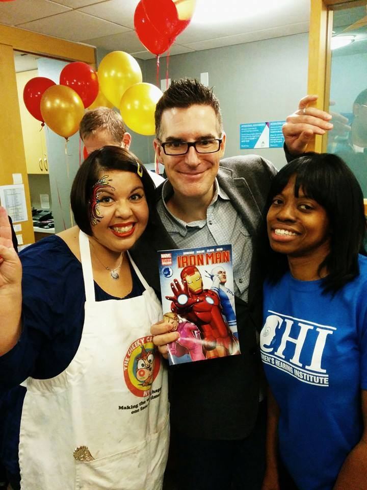 The Cheeky Chipmunk had the tremendous honor of being asked to paint for the world debut of Marvel's newest superhero, SAPHEARA! The world's first comic book hero with cochlear implants!   The Children's Hearing Institute, in collaboration with Marvel Comics, brought this amazing story to life. Here she is with Marvel editor Bill Rosemann and CHI's Development Associate Myrna Farrell at the comic book launch. These kids were amazing. It was one of the best days of her life! Her deepest gratitude goes out to Marvel and The Children's Institute for inviting her to this wonderful event.
