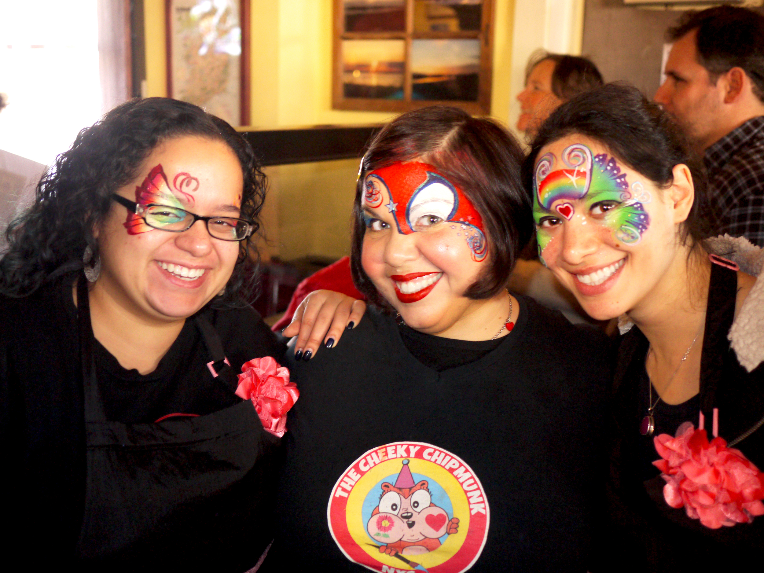 The Cheeky Chipmunk and her friends, fellow face painters Onalee Rivera and Doreen Zion came together to volunteer at a fundraiser for a very special little boy named Gabriel Naughton in December of 2014. Read more about Gabriel and his fundraiser via  this article published by The Queens Courier . WE LOVE YOU GABRIEL!