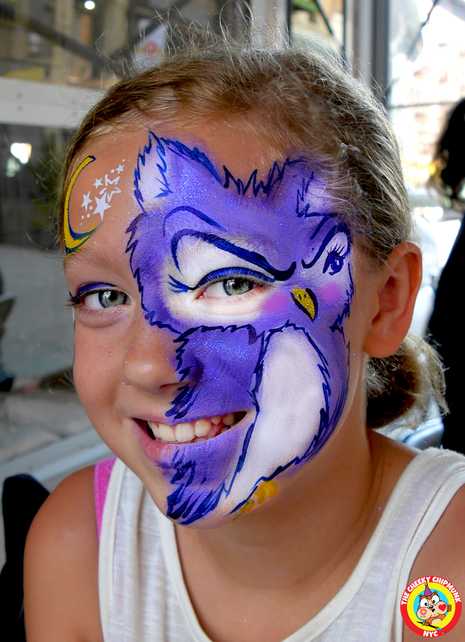 "Owl with moon and stars face painting by Lenore Koppelman aka ""The Cheeky Chipmunk"" in NYC"
