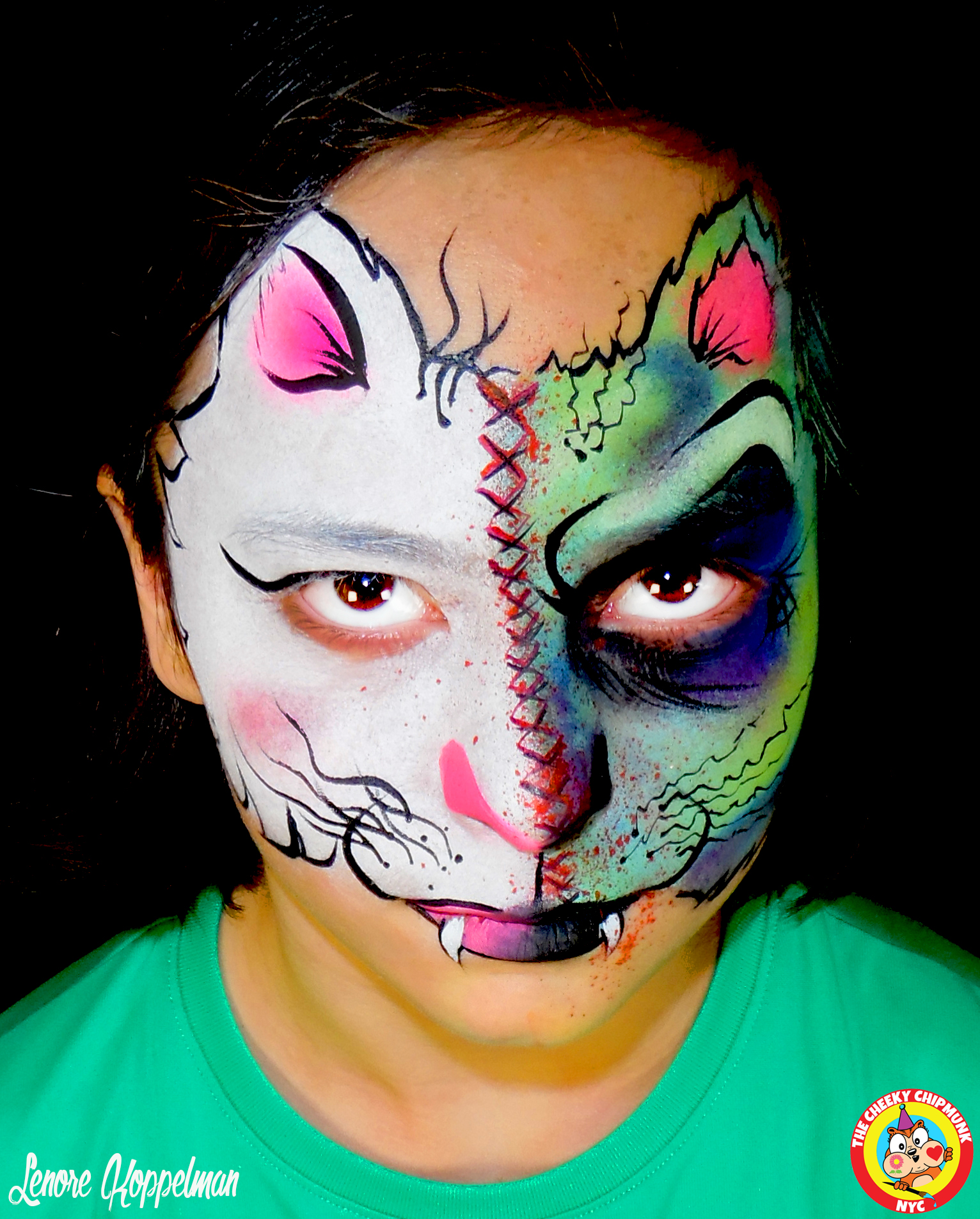 """Good Kitty! Bad Kitty!"" face painting by Lenore Koppelman aka ""The Cheeky Chipmunk"" in NYC"