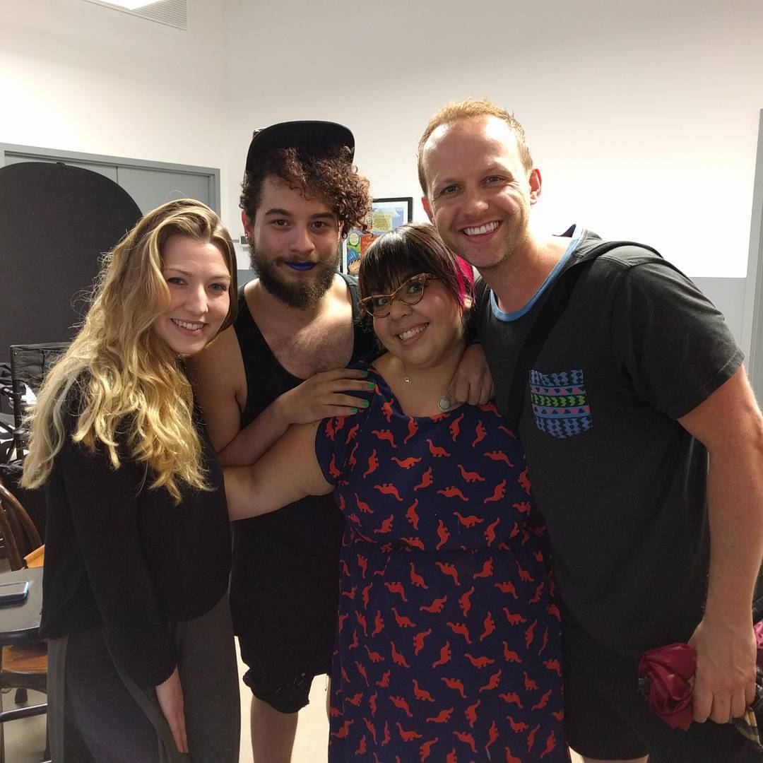 From Left to Right:  Rachel Estabrook (beauty makeup for The Oz Project) Ish Peralta and Lenore Koppelman (SFX makeup for The Oz Project) Marty Thomas (hair artist for The Oz Project)