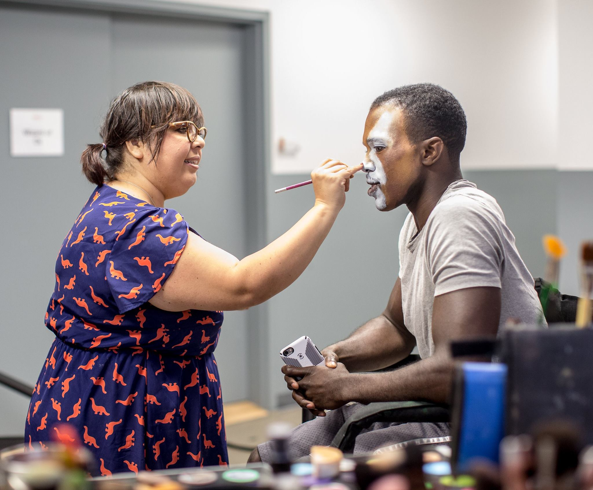 Performing my makeup magic on Tony nominee Joshua Henry, our beloved cowardly lion from The Wiz.