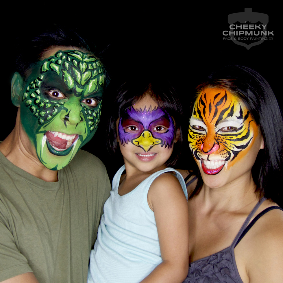 lenore-koppelman-the-cheeky-chipmunk-face-painting-photography-photos-family-self-portrait-snake-man-reptile-purple-eagle-tiger