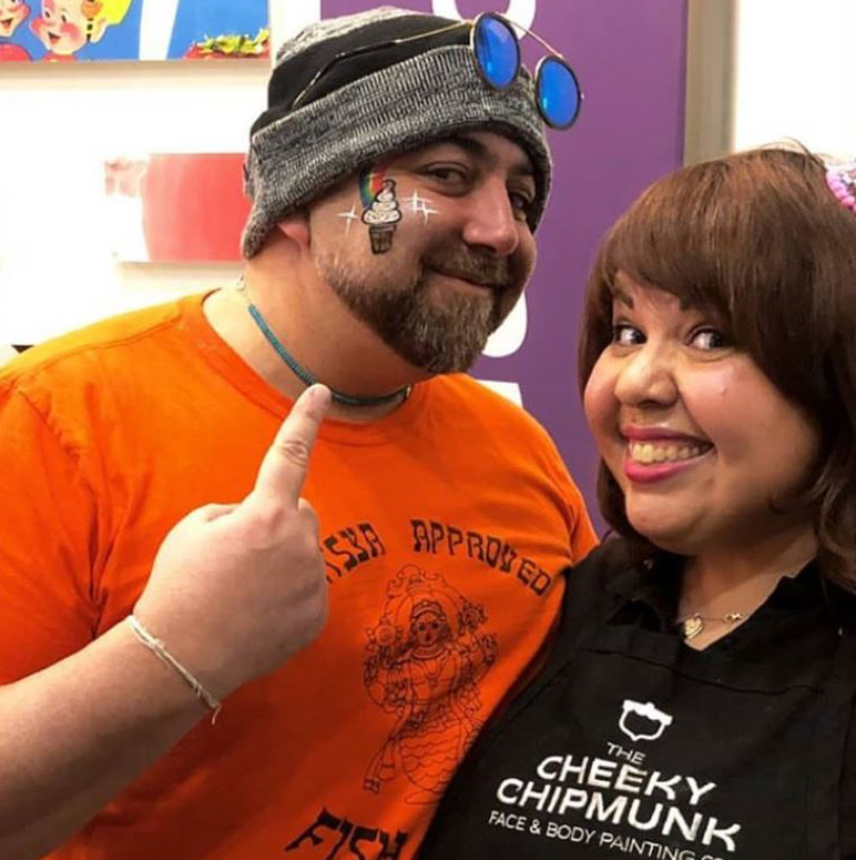 the cheeky chipmunk team face painting and balloon twisting at various events for nycwff. including this ice cream social event hosted by the food network's duff goldman at kellogg's nyc, 2018.