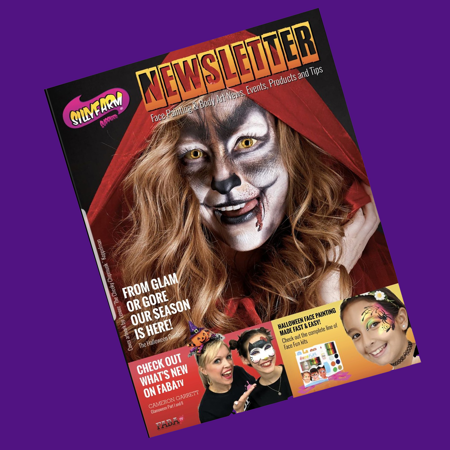 lenore-koppelman-the-cheeky-chipmunk-little-red-riding-hood-wolf-cassie-mike-yamin-photography-newsletter-sillyfarm-face-painting-body-painting-nyc-magazine-press-publication-diagonal-square-purple.jpg