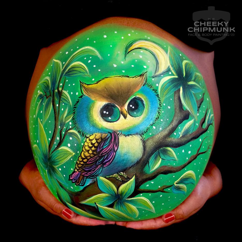 lenore-koppelman-the-cheeky-chipmunk-baby-belly-laura-kradas-vintage-owl-green-tree-moon-body-art-astoria-nyc