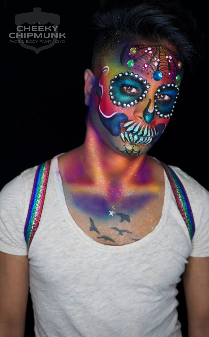 lenore-koppelman-the-cheeky-chipmunk-rainbow-gay-pride-sugar-skull-rhinestones-airbrush-makeup-fantasy-skeleton-adult-website-nyc