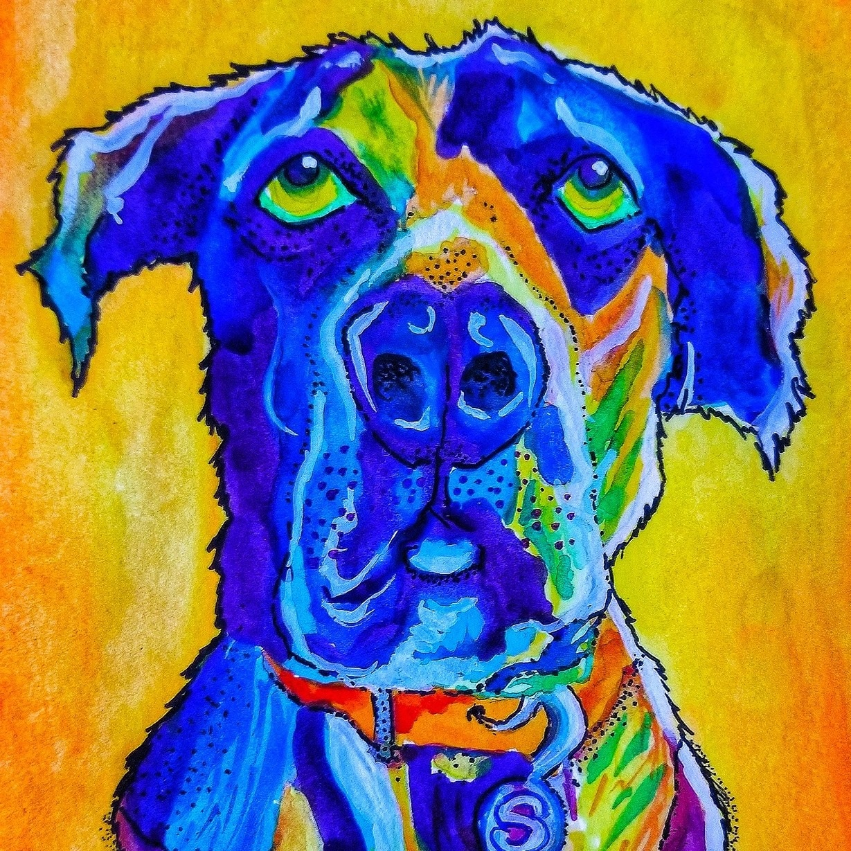 """Samson"" by Lenore Koppelman. Watercolor on watercolor paper."