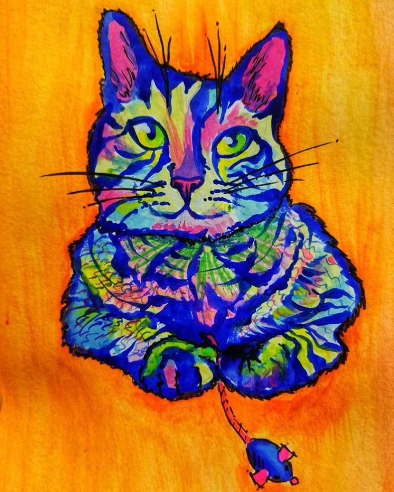 lenore-koppelman-the-cheeky-chipmunk-lenore-paints-pets-watercolor-painting-maras-cat-with-mouse-tabby-princess-nyc.JPG