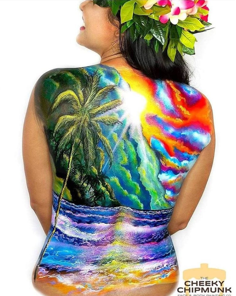 "Body Painting for  FABAIC 2109 event: ""The Spirit of Aloha"",  painted by Lenore Koppelman"