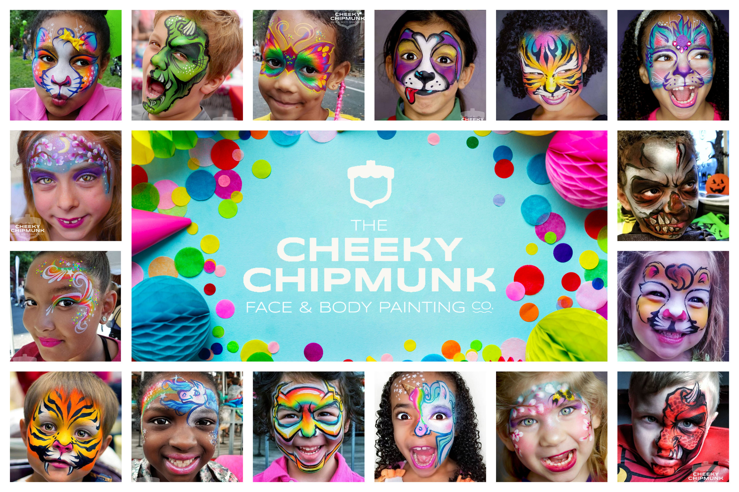 lenore-koppelman-the-cheeky-chipmunk-logo-collage-on-blue-party-background-confetti