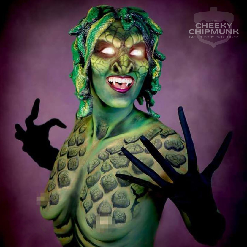 lenore-koppelman-the-cheeky-chipmunk-medusa-body-painting-paint-prosthetics-snakes-sfx-green-halloween-clash-of-the-titans-nyc
