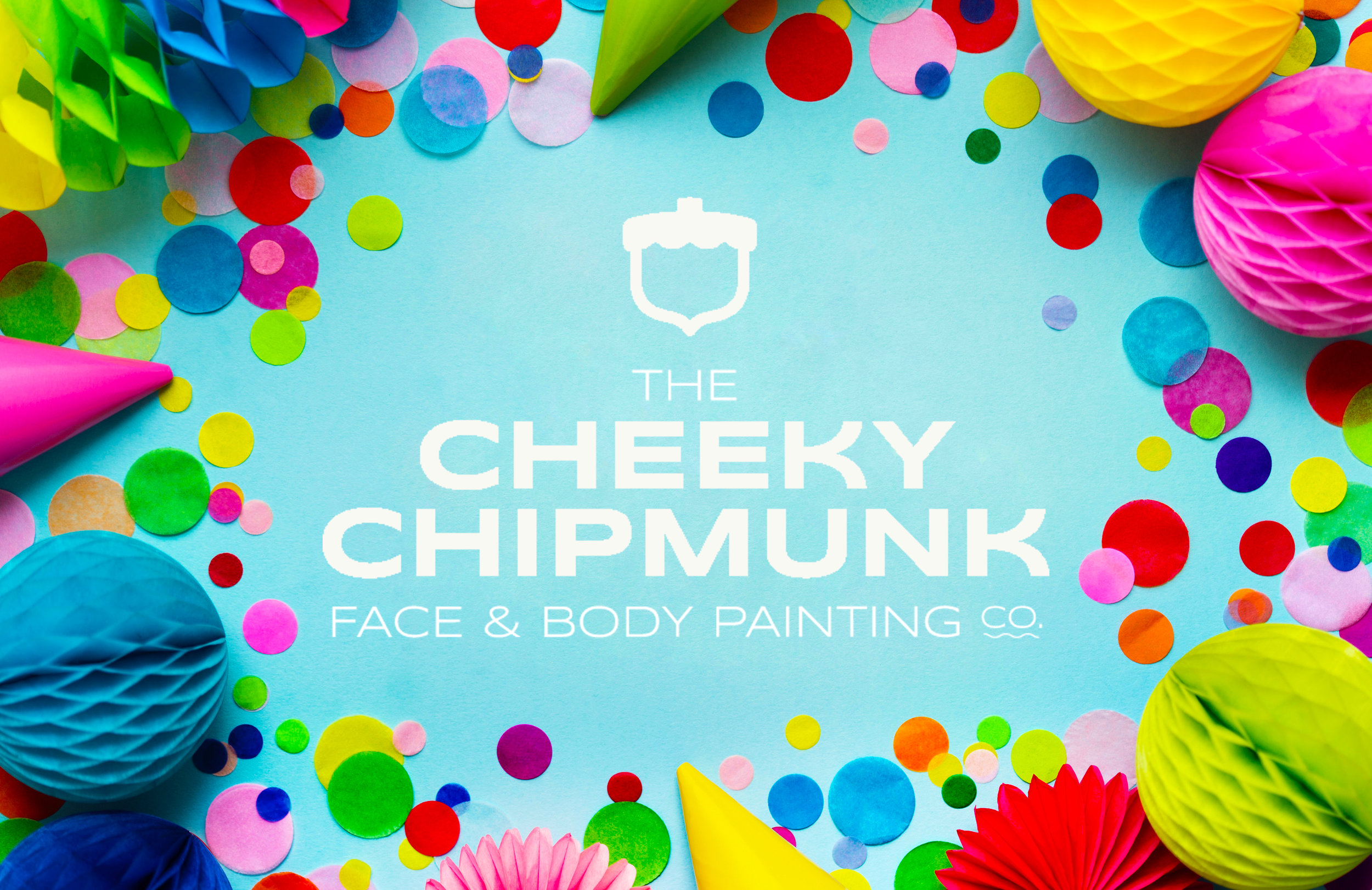 lenore-koppelman-the-cheeky-chipmunk-logo-on-blue-party-background-confetti-with-face-painting-border