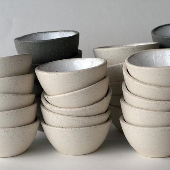 Whitestone and darkstone bowls for Tantalus Vineyard, Waiheke Island, NZ