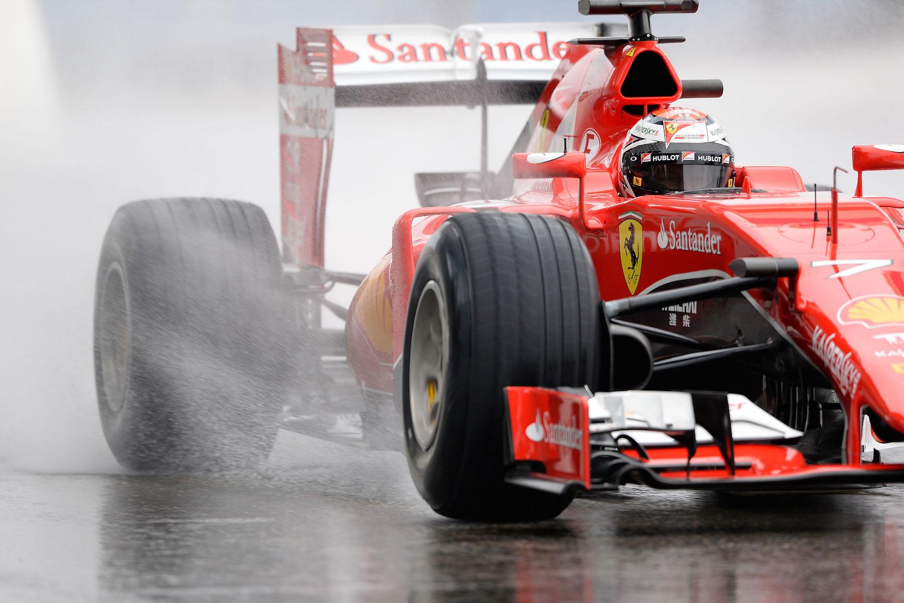 Kimi Raikkonen on track at Paul Ricard for Pirelli's wet tire test