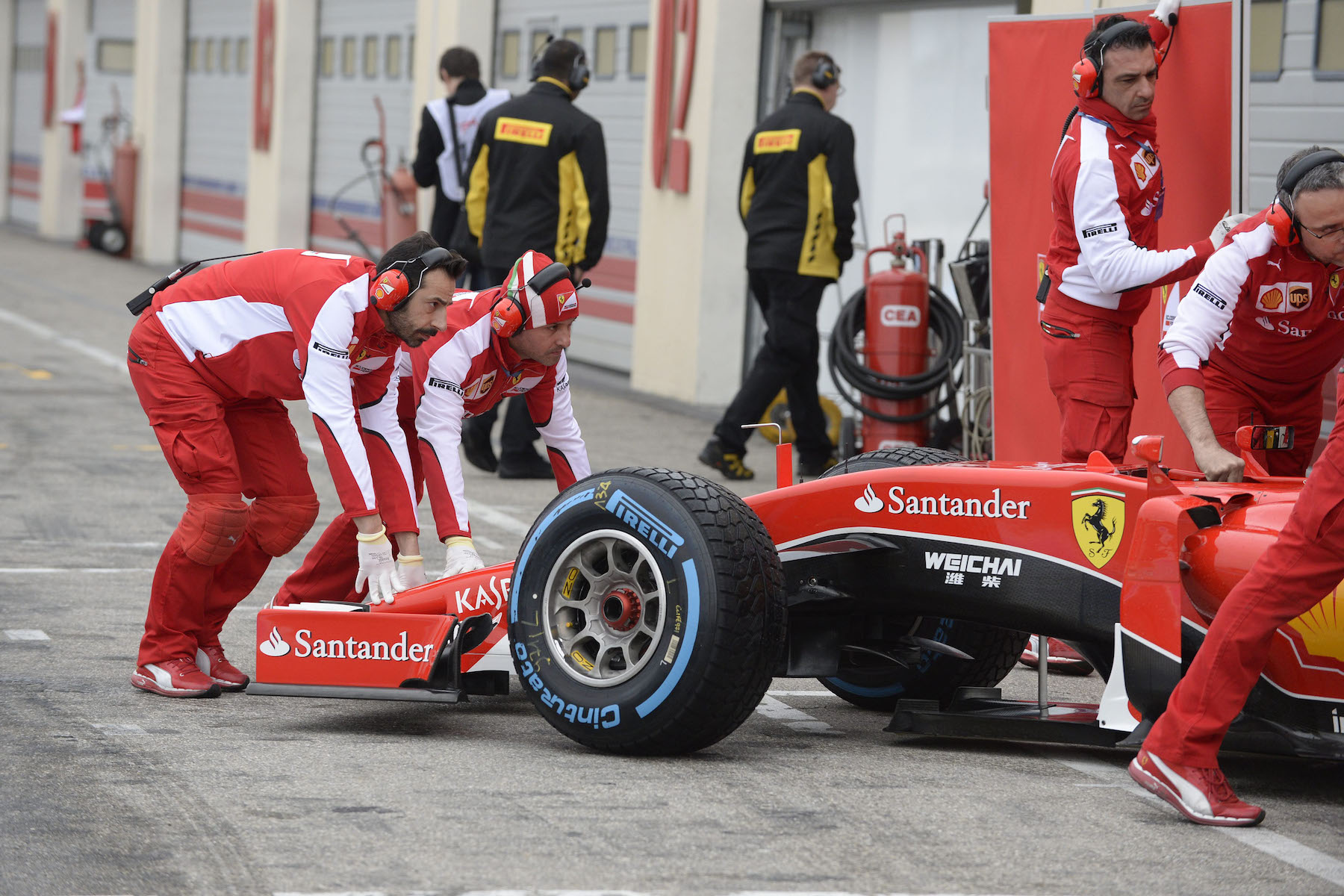 Ferrari at Pirelli wet tire test in France