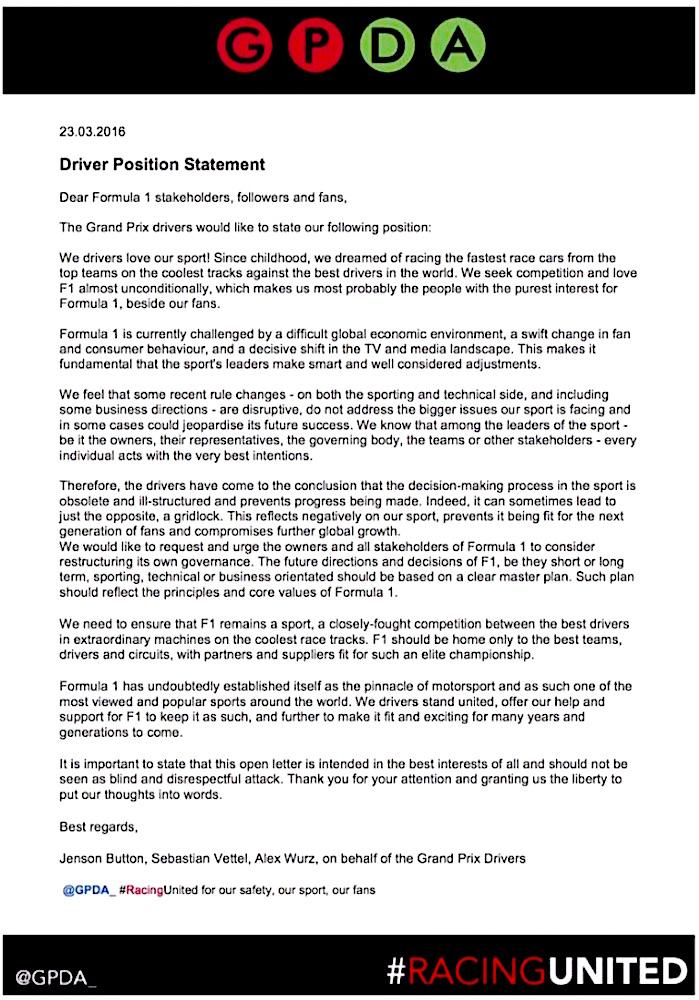 GPDA Statement March 2016