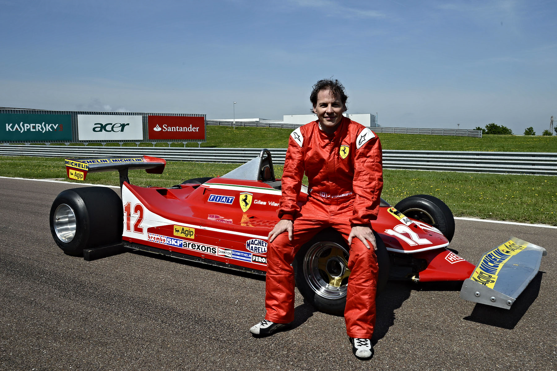 Jacques Villeneuve seating in Gilles's Ferrari 312T4