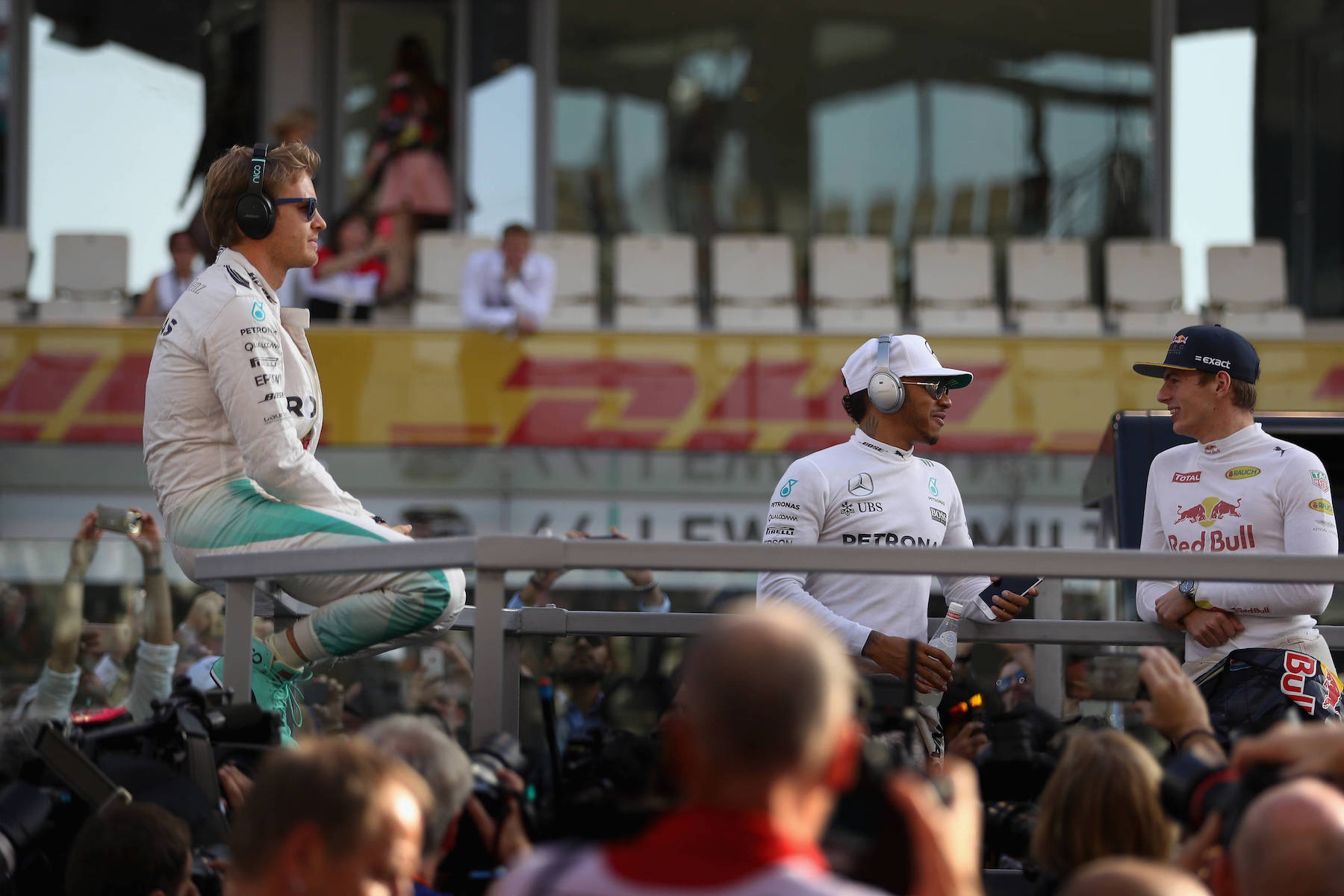 Salracing - Nico Rosberg, Lewis Hamilton and Max Verstappen during the Drivers' Parade