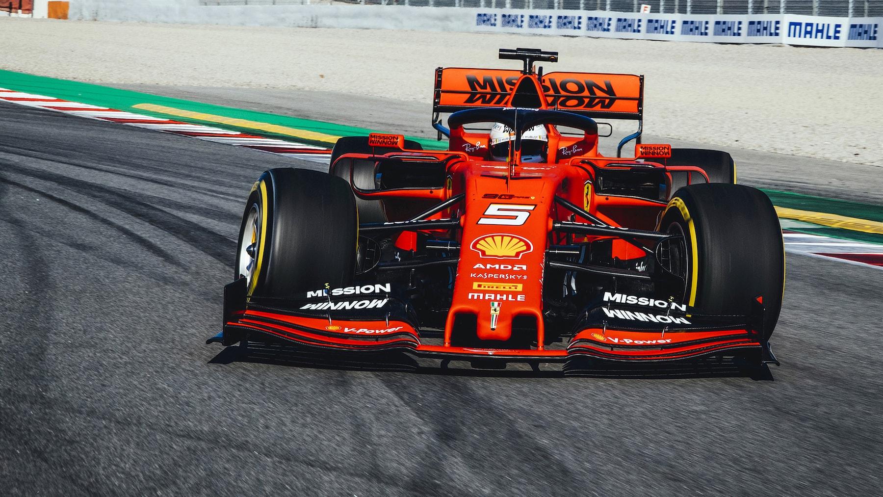 2019 Sebastian Vettel | Ferrari SF90 | 2019 Barcelona T2 D1 1.jpg