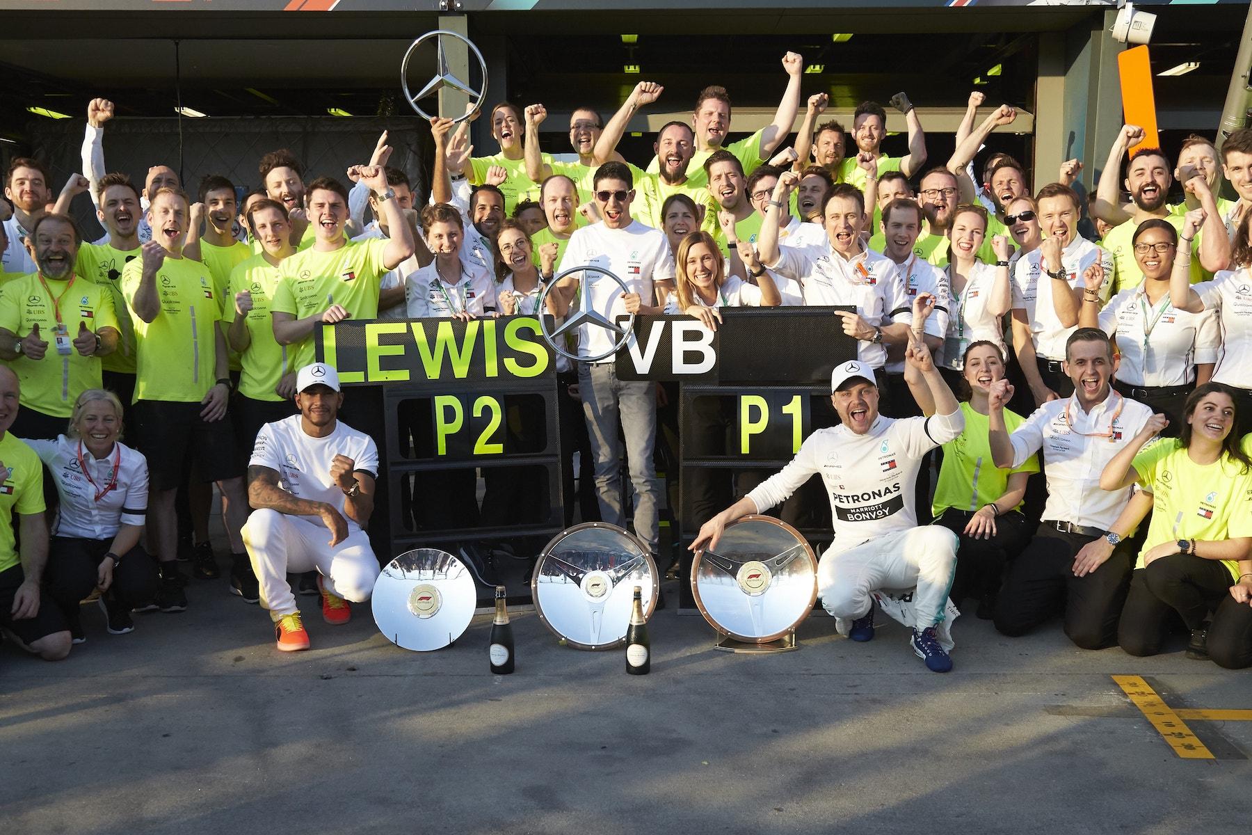 Z 2019 Mercedes celebrating 1 2 | 2019 Australian GP copy.JPG