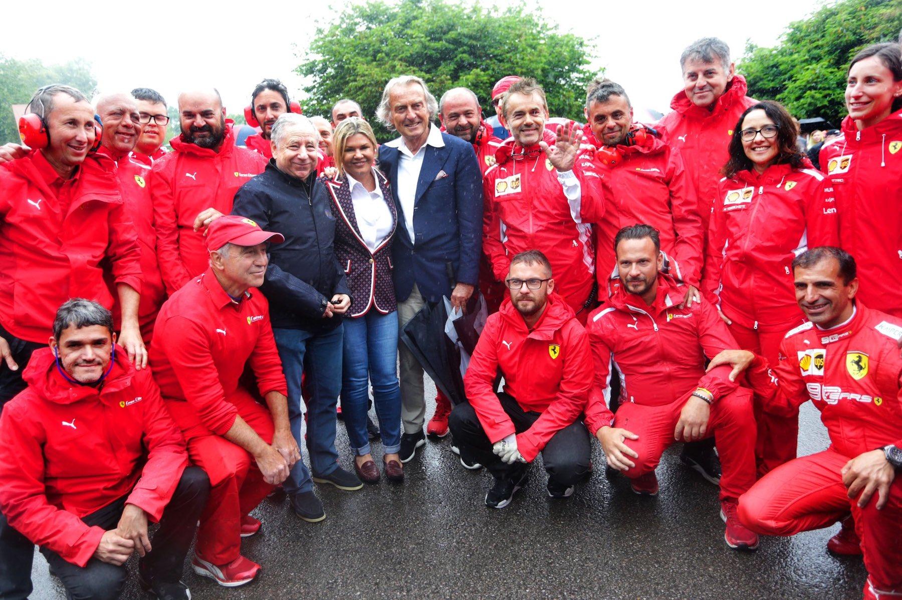 Jean Todt, Corinna Schumacher, Luca di Montezemolo, and the Scuderia Ferrari crew