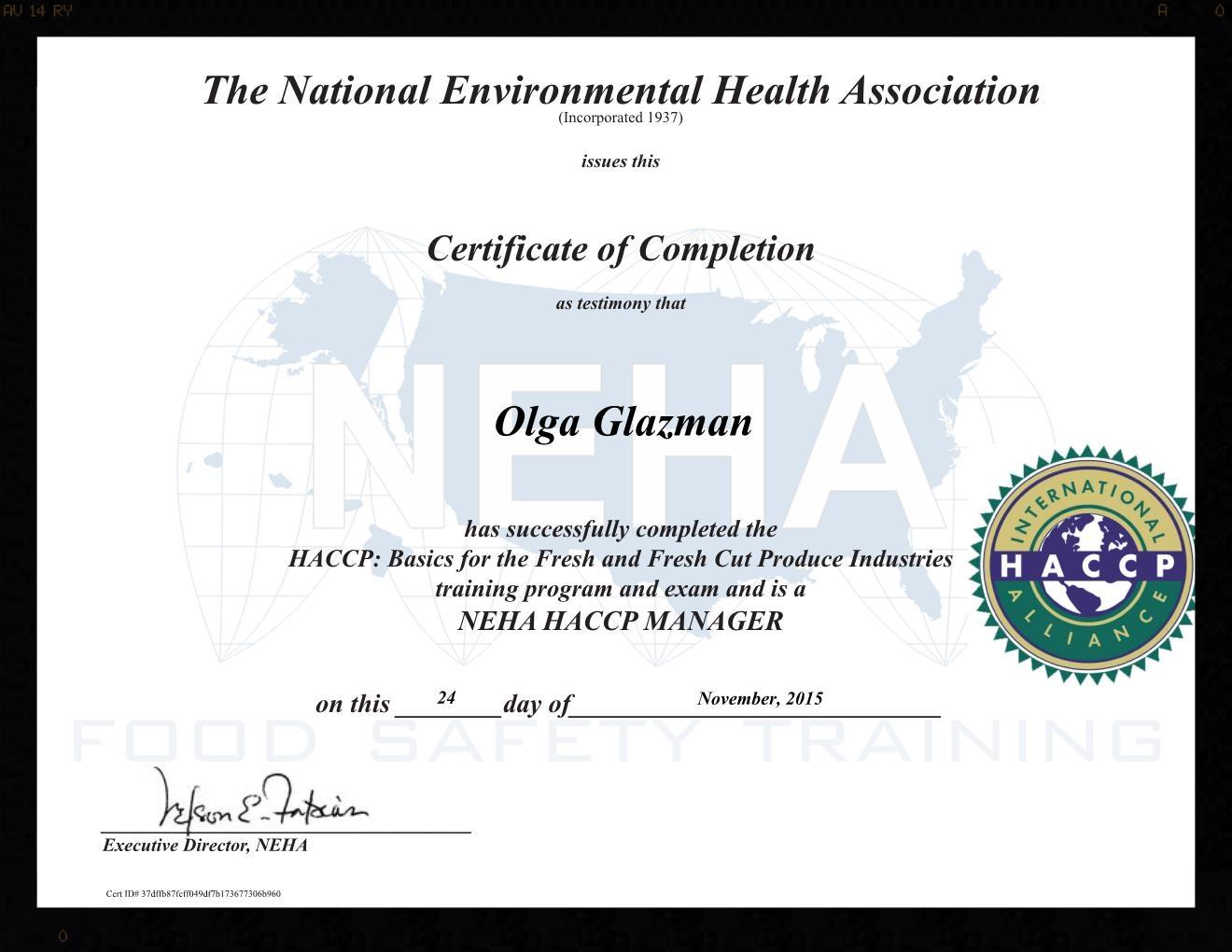 Olga Glazman HACCP certification