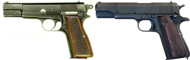 Browning Hi Power (left) and Colt 1911 (right) (Wikipedia)