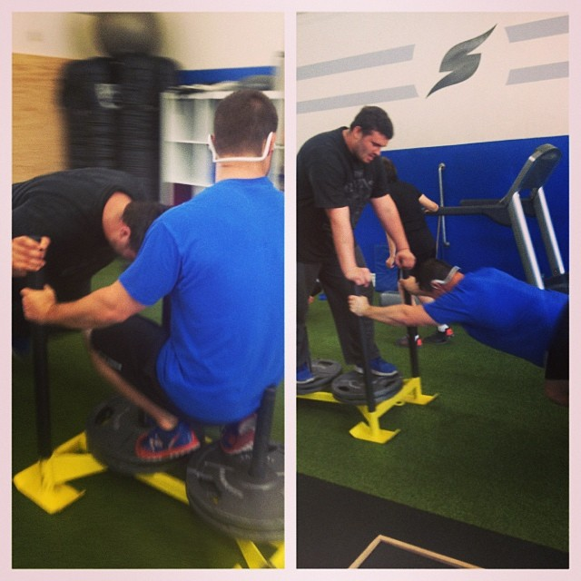 Celebrating national sibling day, a day later with brotherly sled pushes. #brothers #sledpush #smac  #smacstrong