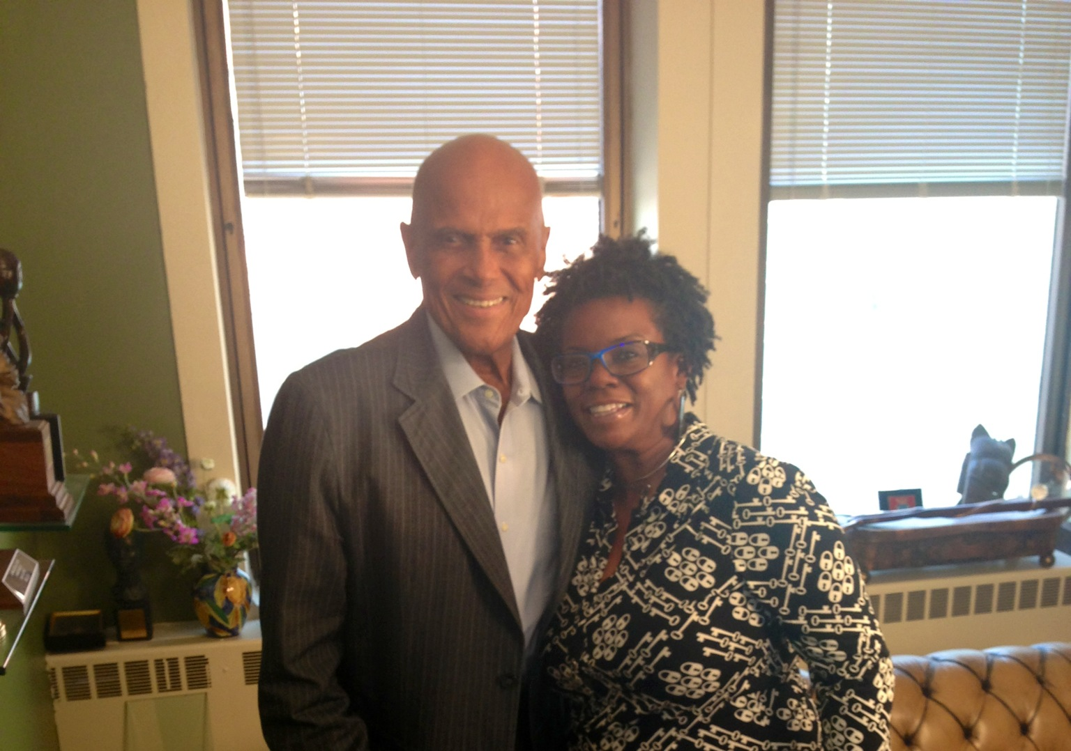 Hanging with Harry Belafonte during production shoot for NABJ's 2013 Journalist of the Year honoree, Roland Martin.
