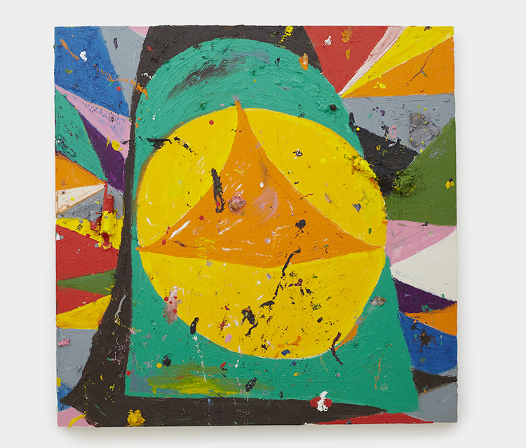 """""""Knock Knock, Twinkle Twinkle"""" 2013,  Oil pigment stick and wax paper wrapper on canvas,  30 x 30 in  76 x 76 cm"""