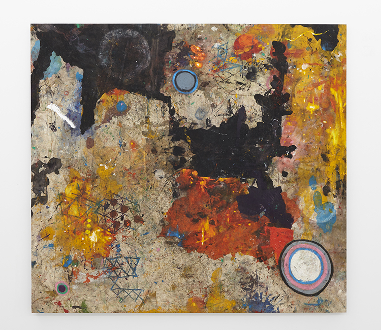 """""""Just Because I Rock, Doesn't Mean I am Made of Stone"""",  2014,  Oil on drop cloth,  64 x 70 in  162 x 178 cm"""