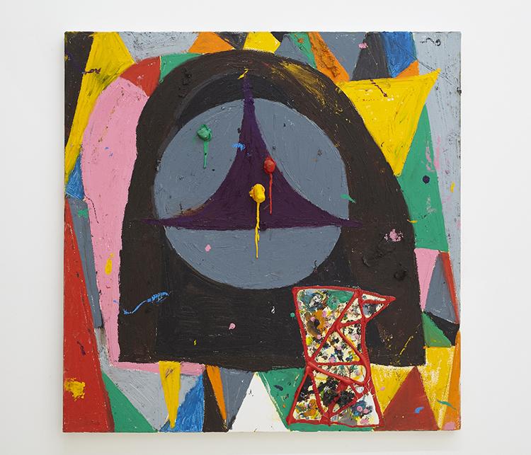 """False Security"", 2013,  Oil pigment stick on canvas,  30 x 30 in  76 x 76 cm"