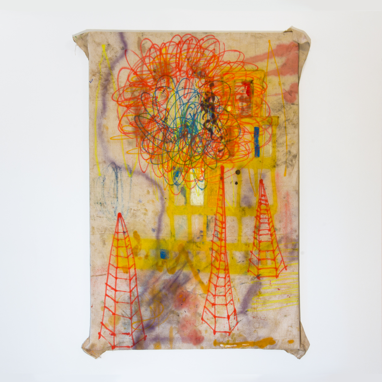 """""""Parallel Construction"""", 2014, Oil and spray paint on drop cloth, 64 x 47"""