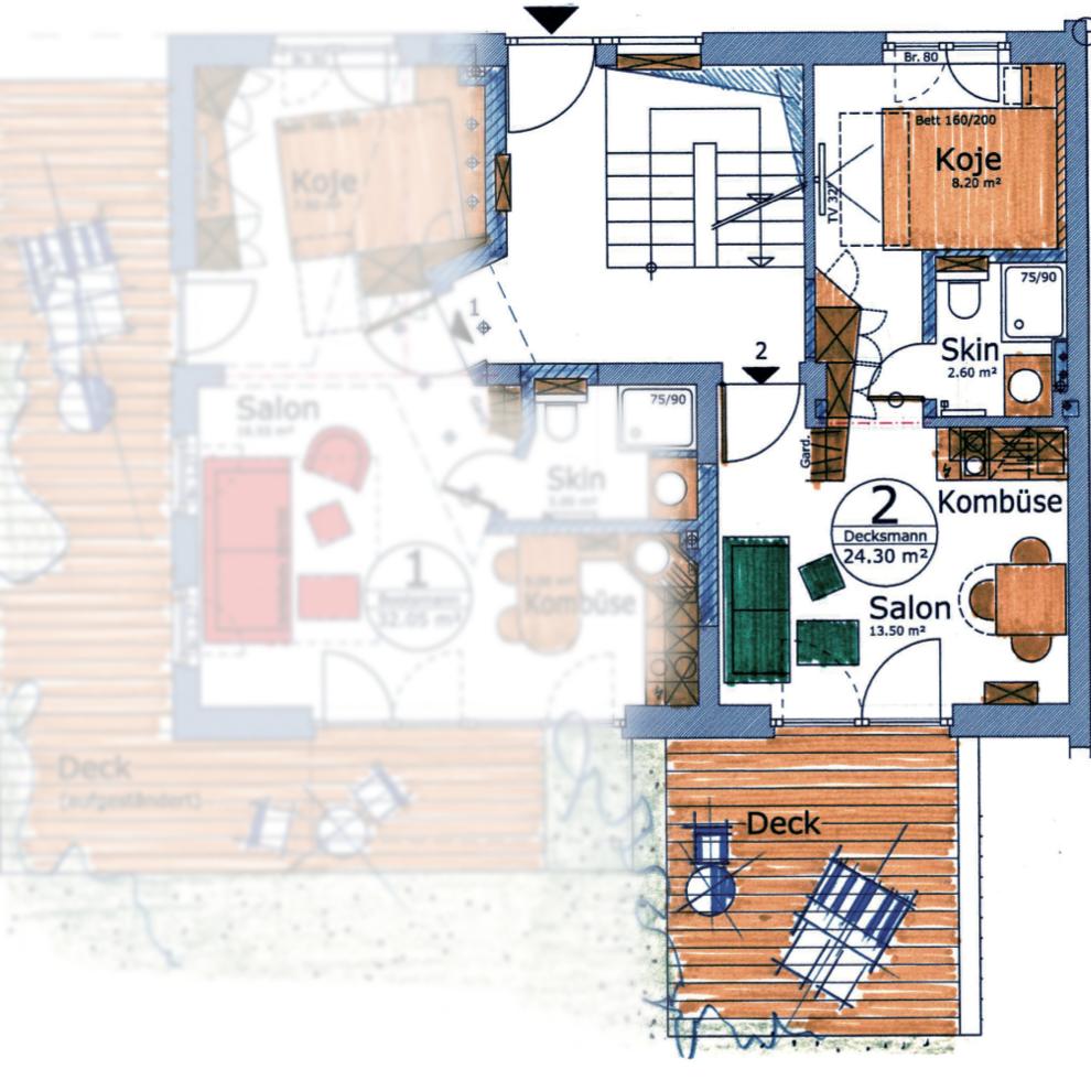 Apartment Decksmann      2 Personen; Aufbettung möglich
