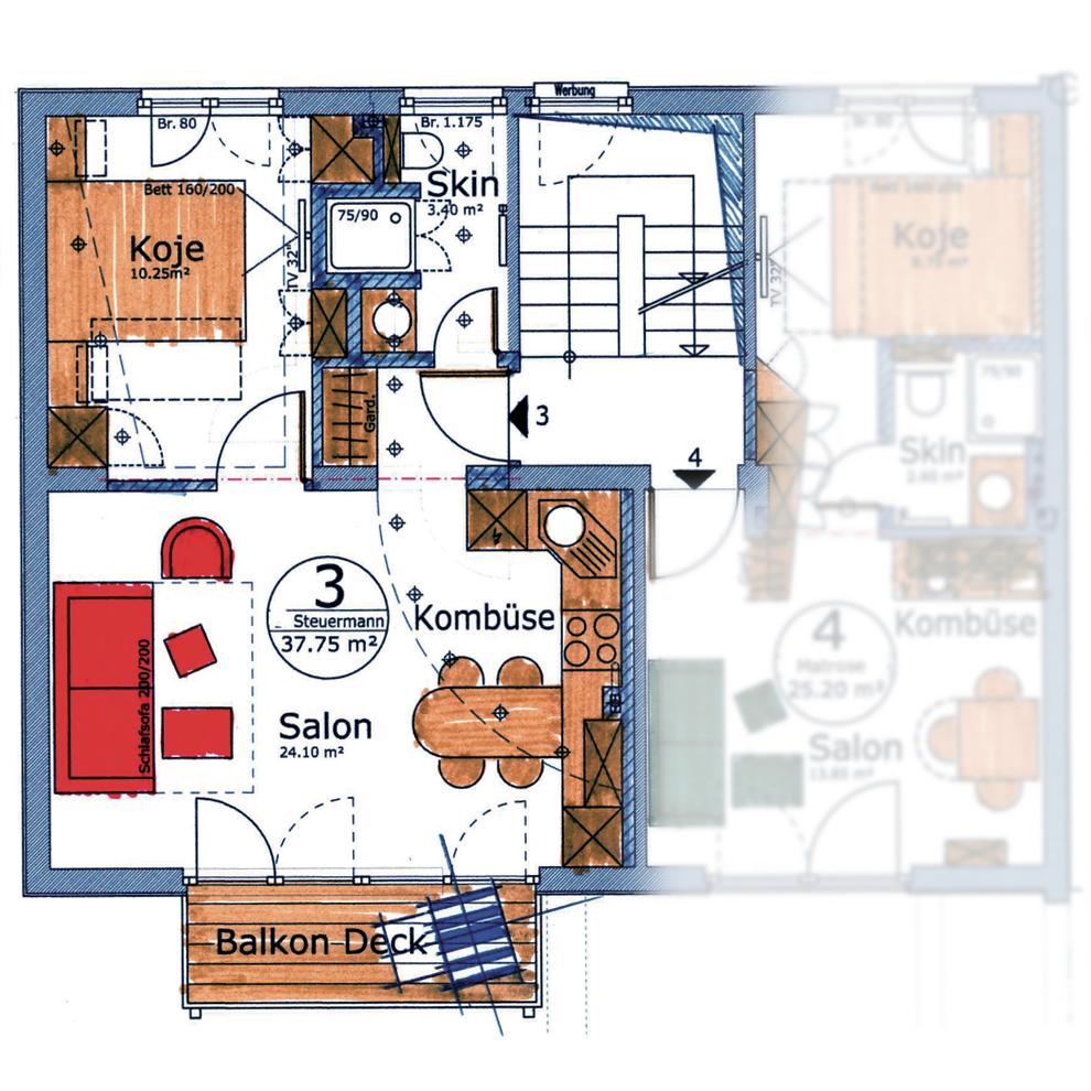 Appartement Steuermann        2 Personen, Aufbettung möglich
