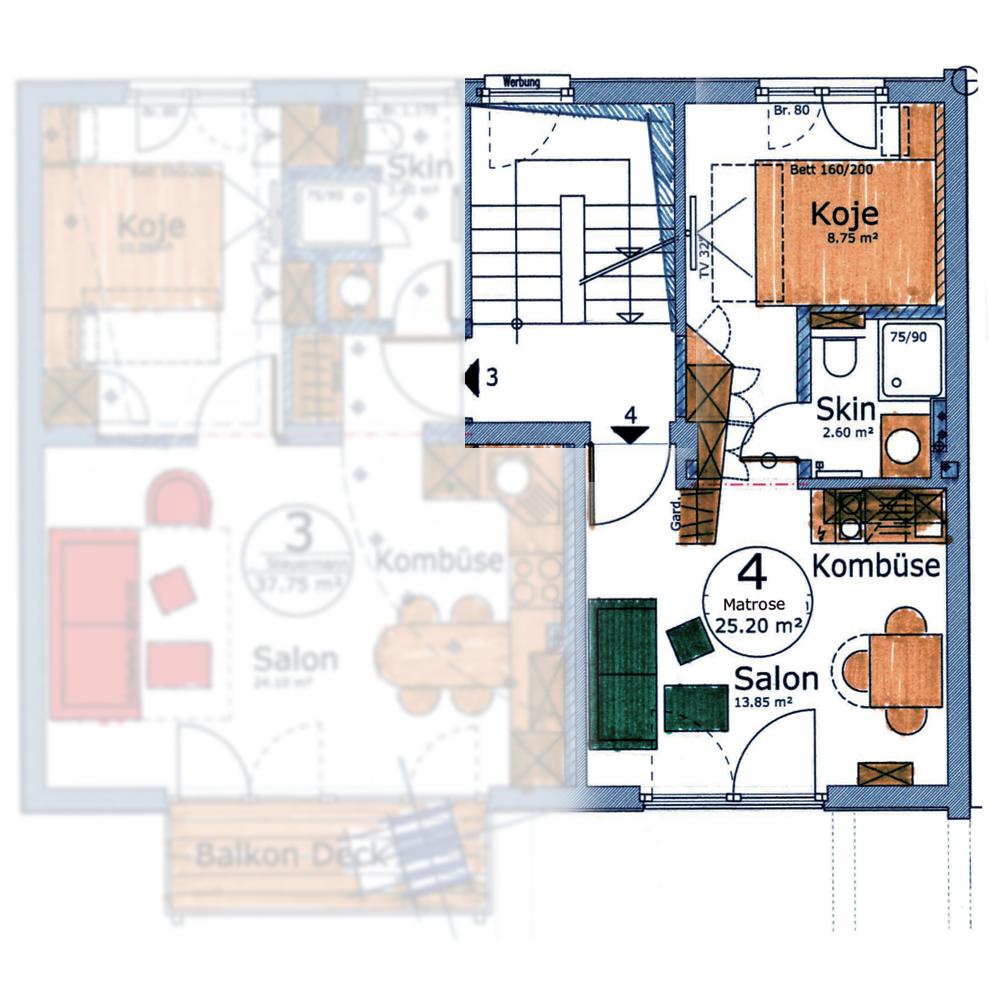 Appartement Matrose        2 Personen, Aufbettung möglich