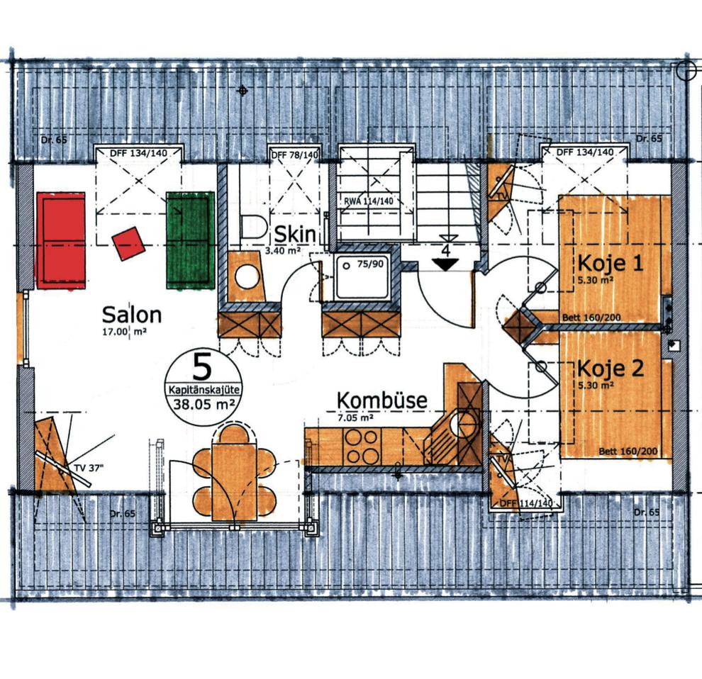 Appartement Kapitänskajüte     4 Personen, Aufbettung möglich