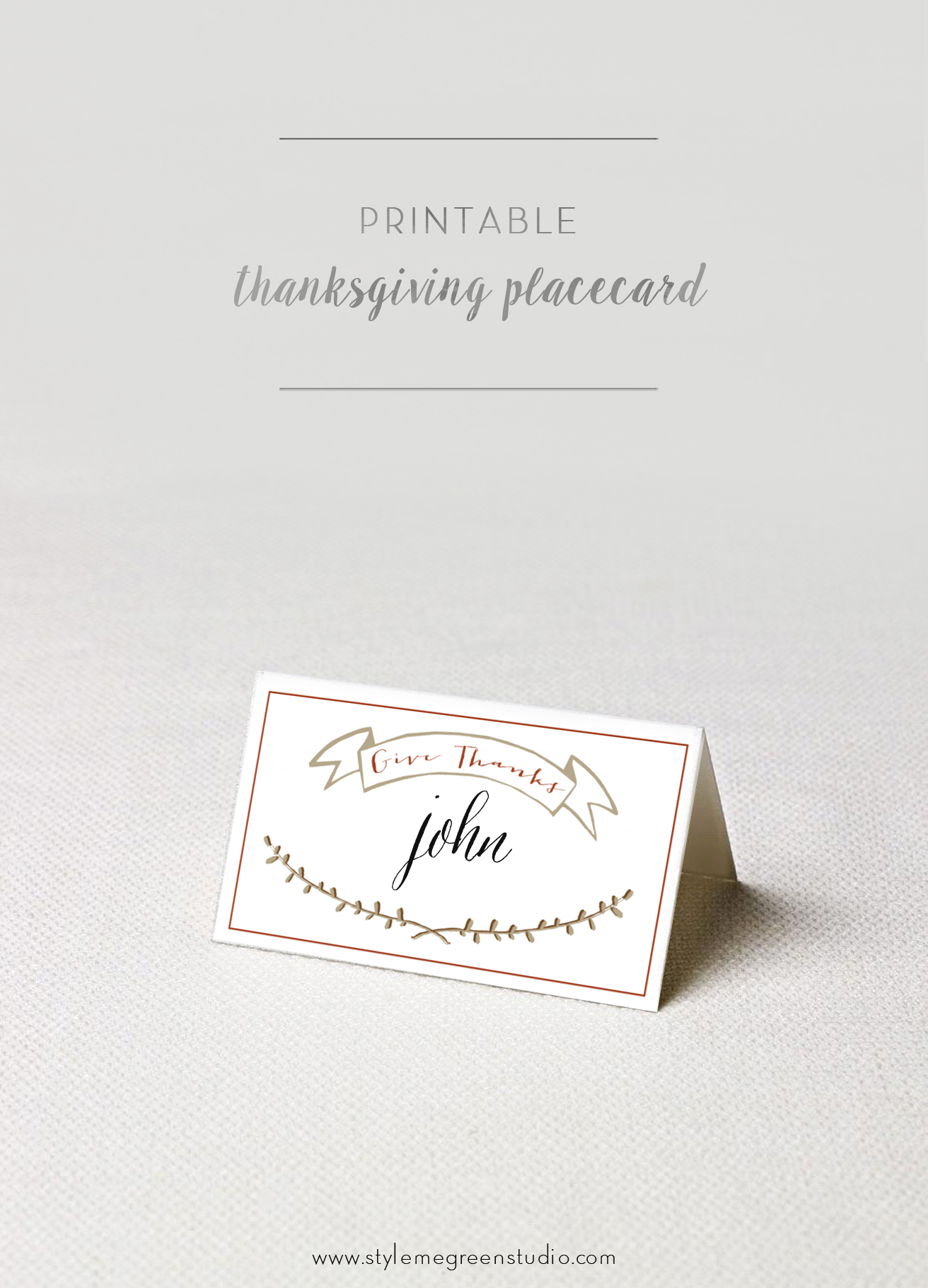 image relating to Free Printable Place Cards known as THANKSGIVING Space Playing cards Free of charge PRINTABLE Design and style Me Environmentally friendly