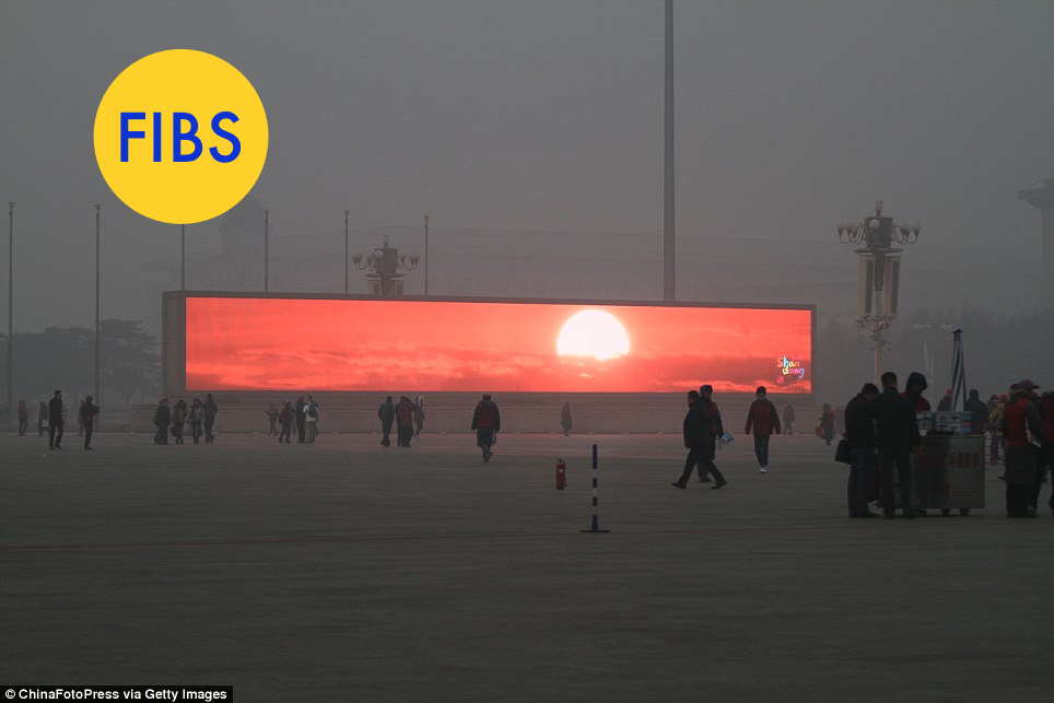A photograph represents a single moment in time. So even an honest photo can lie when you don't have enough information.  This  Getty  photo was passed around last week by the   Daily Mail   as a peek into a dystopian world where Beijing's only glimpse of the sun comes from digital screens. And yes, the smog is horrible in China right now. But the story is misleading.  In reality, the photo shows a Chinese tourism ad for Shandong province playing on a giant video screen in Tiananmen Square. As the   Tech in Asia   blog points out, the sun only appears on the screen for a brief period of time as part of a longer ad. The ad also plays year-round, no matter how bad the smog might be.