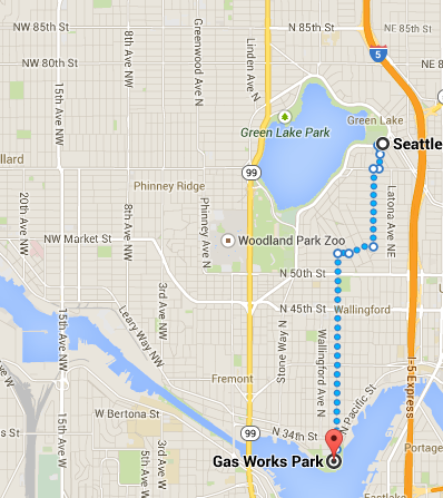 Walking route from Greenlake to Gas Works Park.