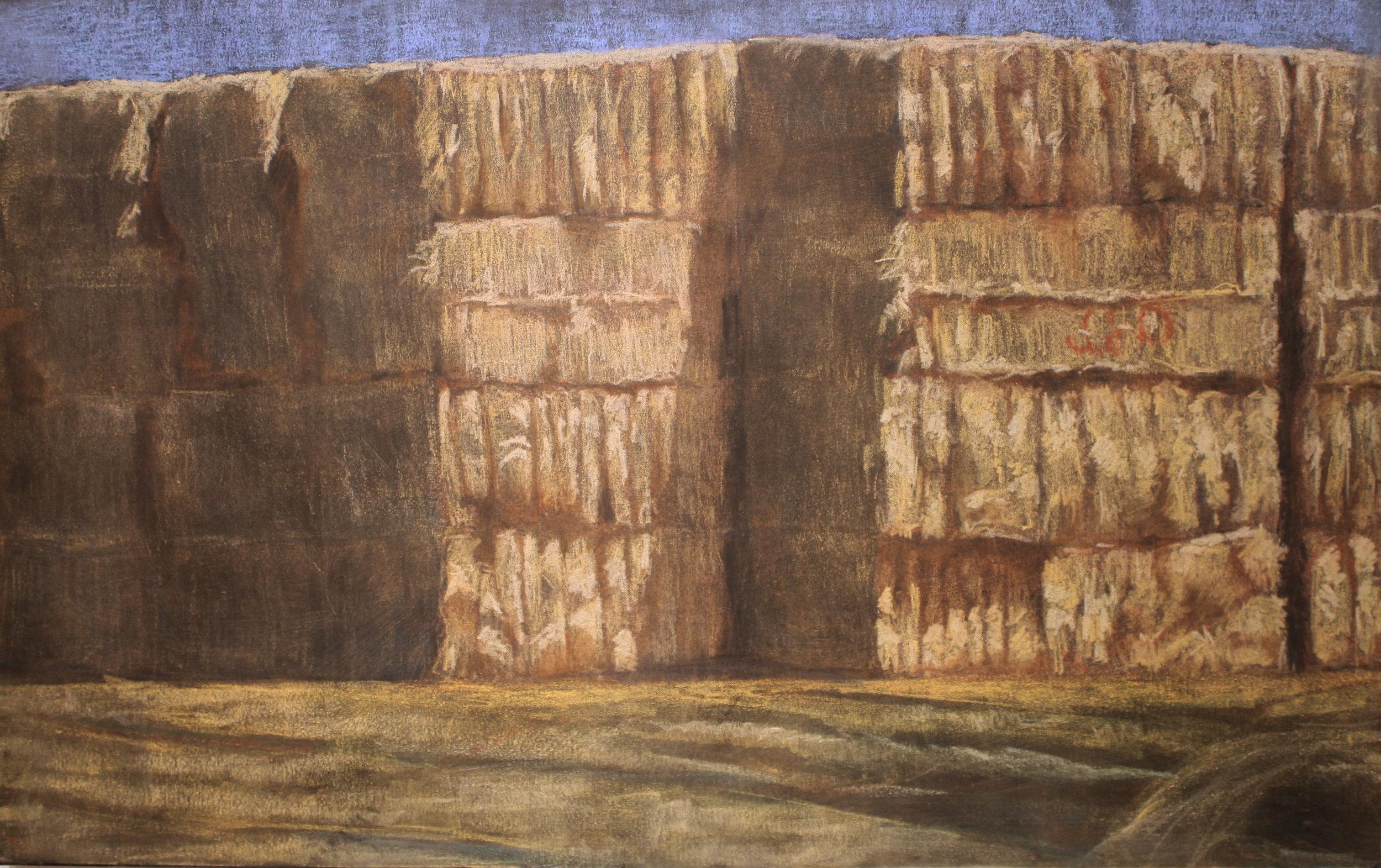 Haystack on G, pastel on canvas 2018