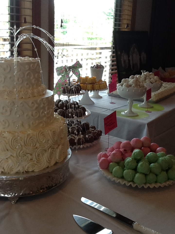 Dessert Buffet to Include the Wedding Cake, Mixed Cookies and Cake Pops