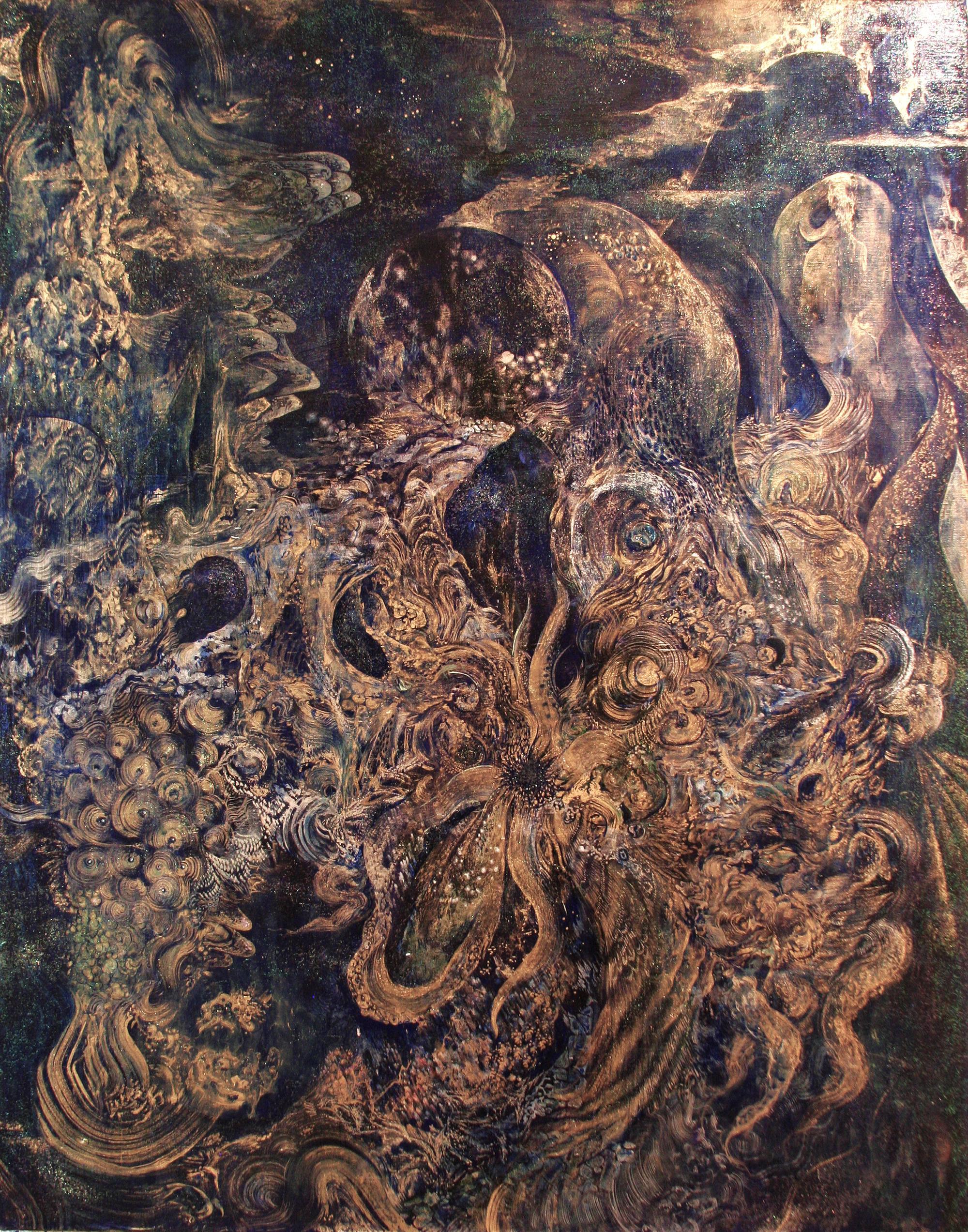 Cephalopod in the deep sea  2014  Acrylic and Metal powder on canvas  W100cm x H80.3cm